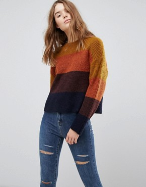 Pull en maille rayé color block