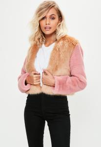 manteau-court-marron--fausse-fourrure