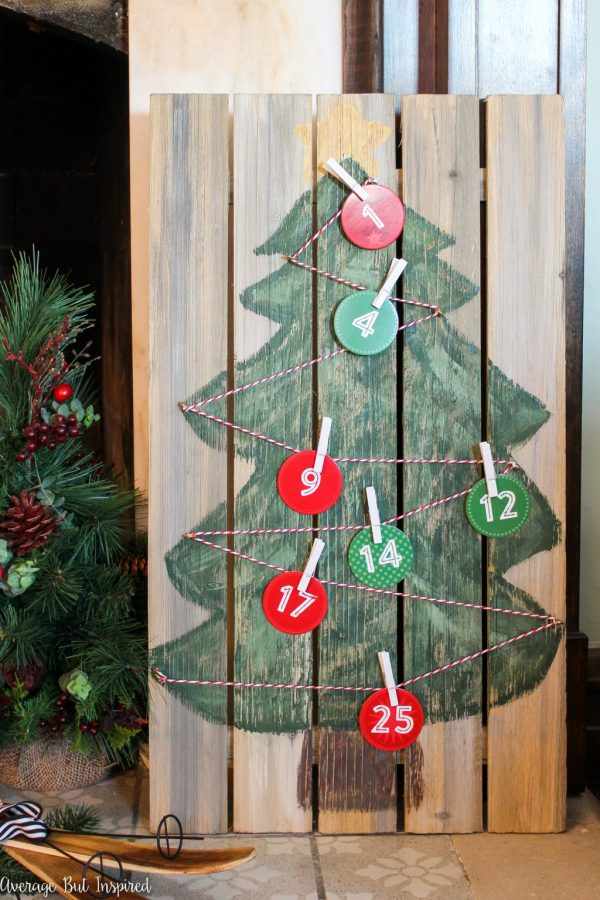 Calendario Adviento Navidad - Christmas Advent Calendar on Wood - DIY Homemade