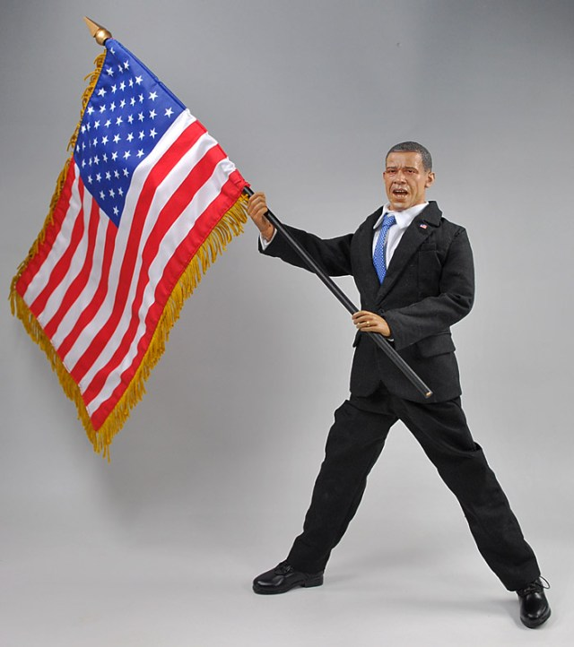 Barack obama japan doll holding flag