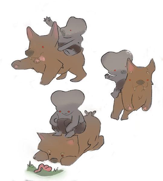 The Melon Heads riding a Dogman pup