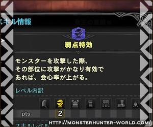 弱点特効 【MHW】モンスターハンターワールド
