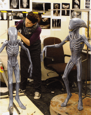 The Deacon rod puppet (left) and compressed puppet (left).