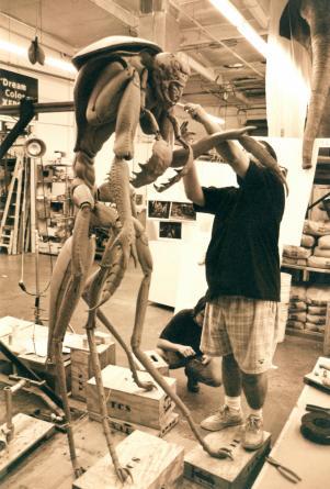 Rick Lazzarini works on the Mimic sculpture.