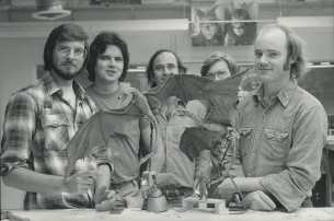 A shot with some of the 'flying' Dragon crewmembers. From left to right: Ken Ralston, Tom St. Amand, Stuart Ziff, Chris Walas and Phil Tippett.