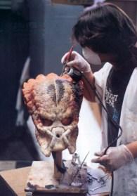 Matt Rose paints a Predator head. Notice the 'Twilight Zone' T-shirt!