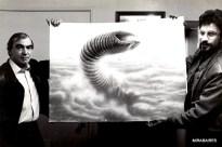 Carlo Rambaldi and Eugenio Zanetti pose with one of Rambaldi's Sandworm concepts.
