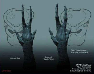 Hand redesign for the adult Alien on the right, compared to the original version on the left.