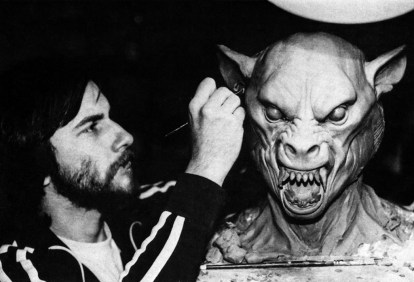 Baker sculpts an early Werewolf. This configuration is very similar to one of the stages that would appear in American Werewolf in London.
