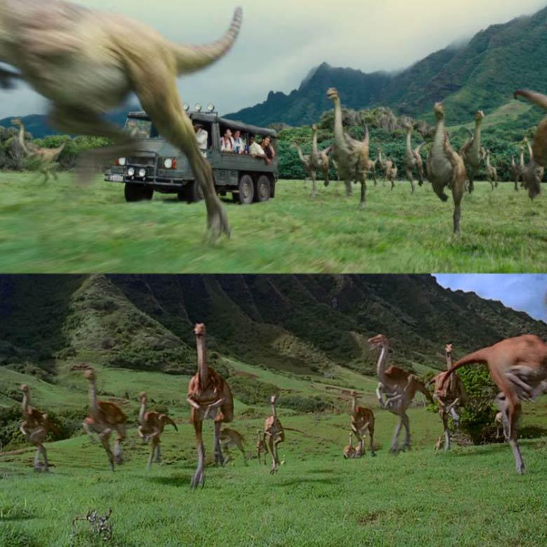 Gallimimus scena branco Jurassic Park