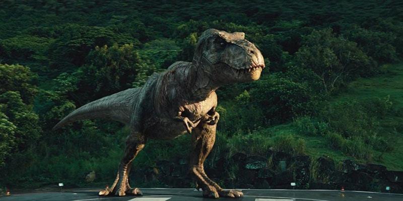 Jurassic World tirannosauro scena