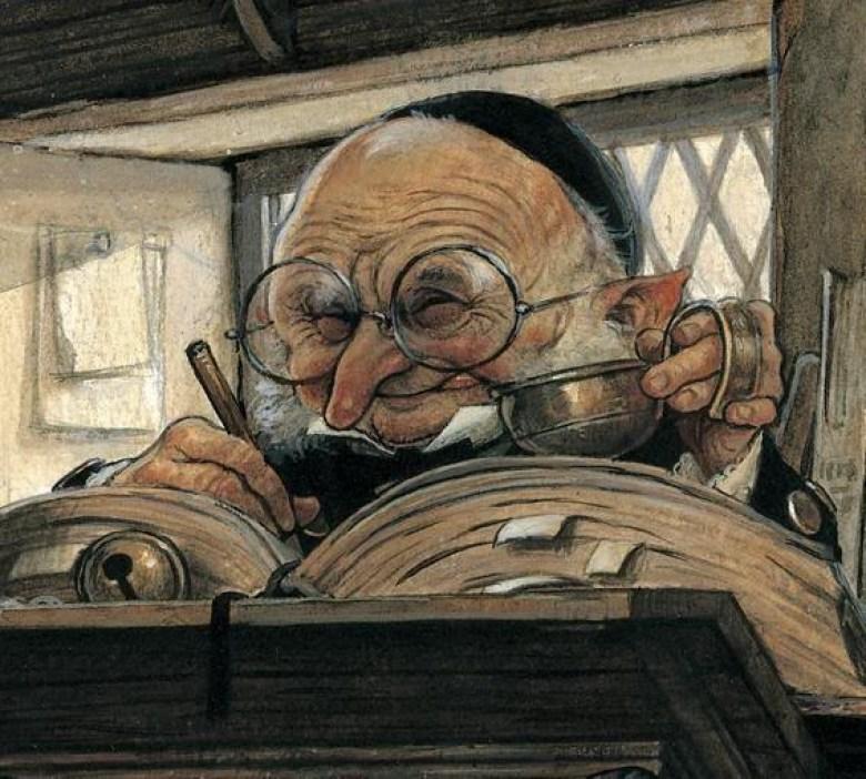 Disegno di un Goblin della banca Gringott