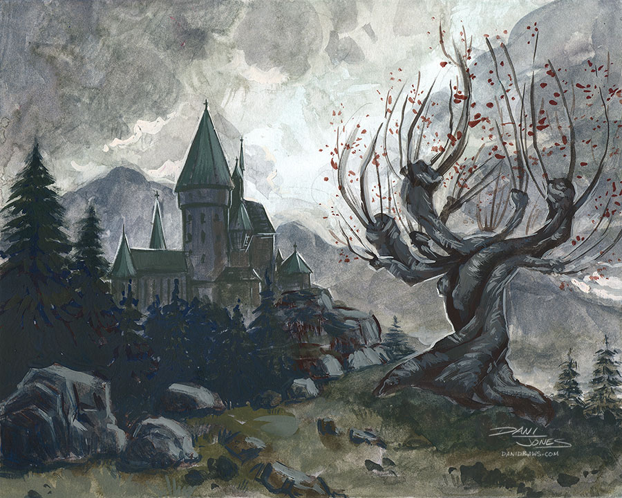 Illustrazione del platano picchiatore di Hogwarts