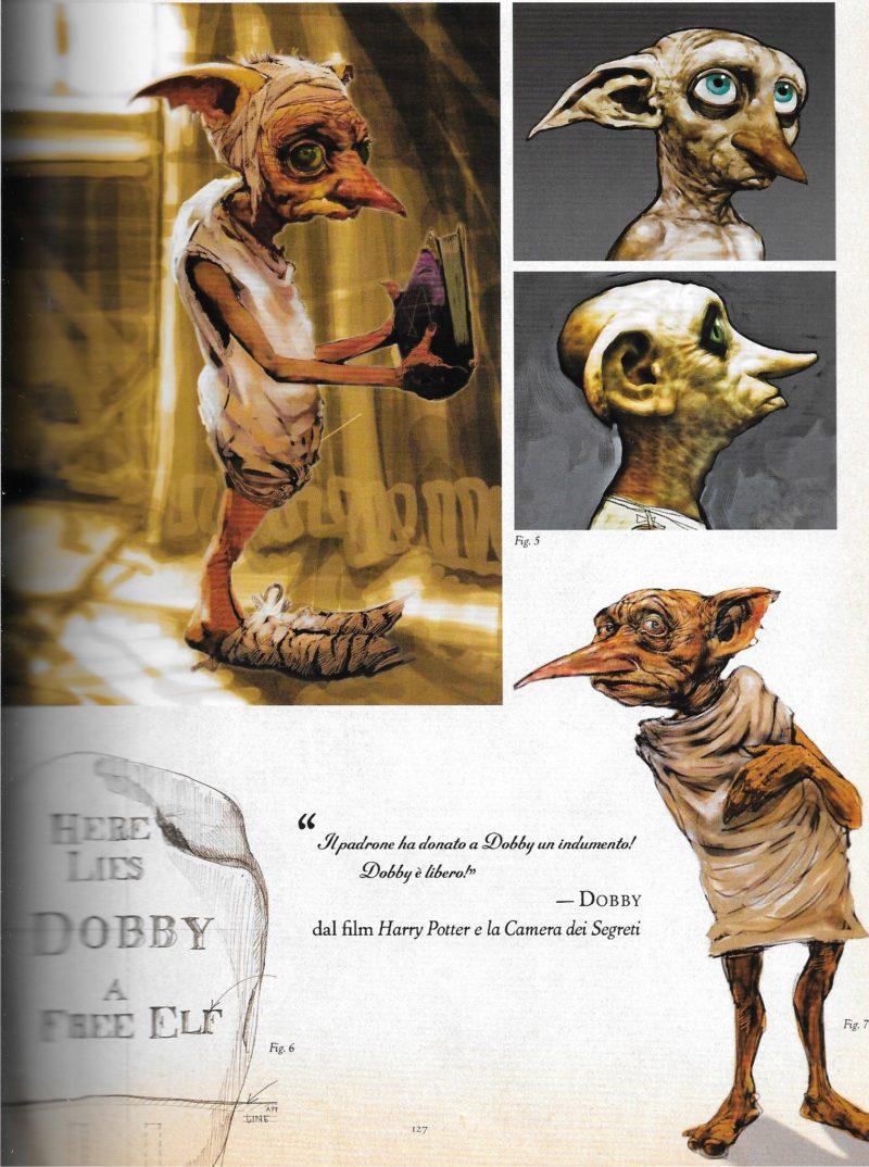 Scheda e bozze di Dobby l'elfo domestico