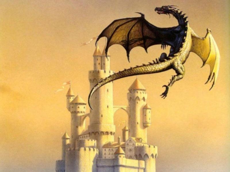 Drago volante castello