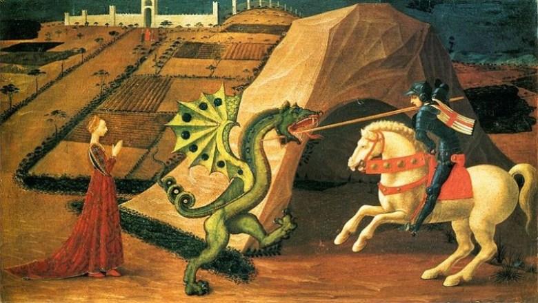 Cavaliere contro drago medioevo