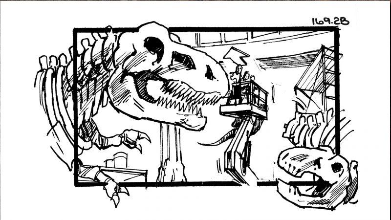 jurassic park ending storyboard finale scheletro