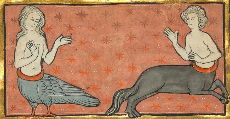 Medioevo bestiario con creature fantastiche