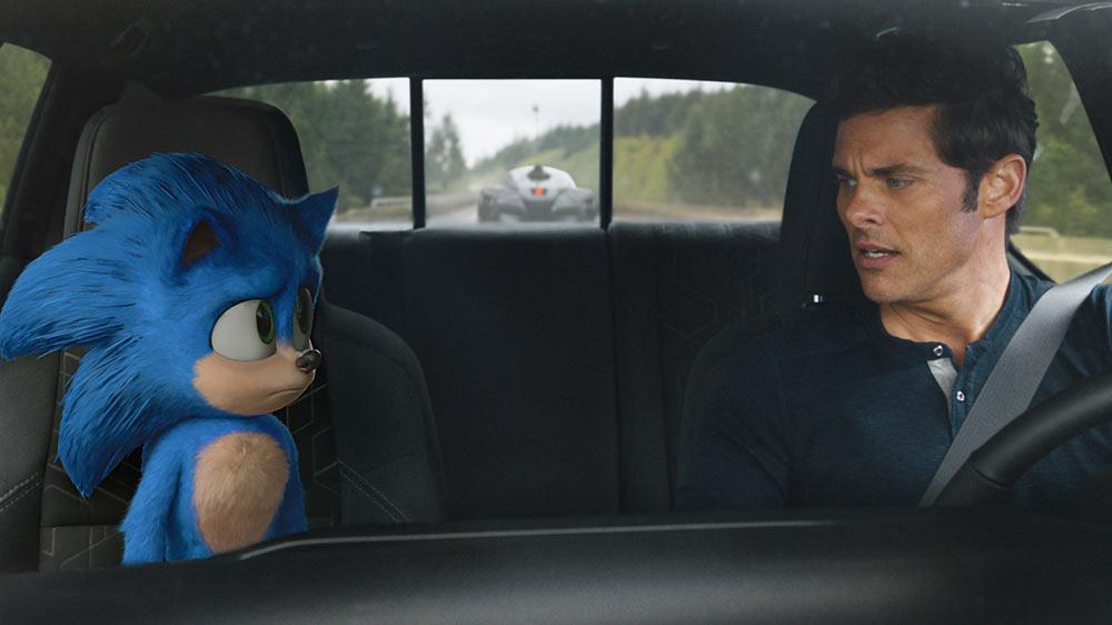Sonic e James Marsden nel film