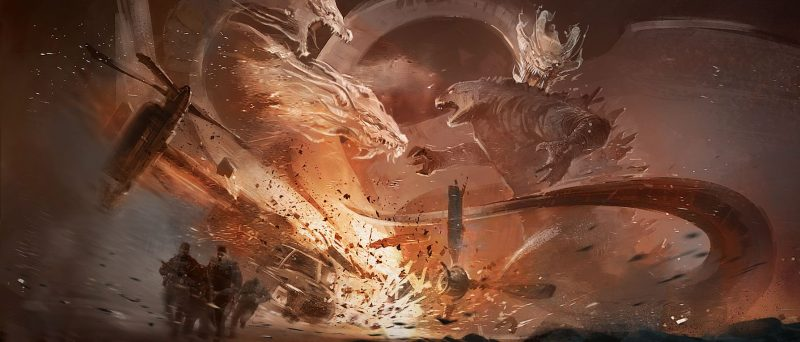Concept art Godzilla King of the Mosnters Round 1 Ghidorah