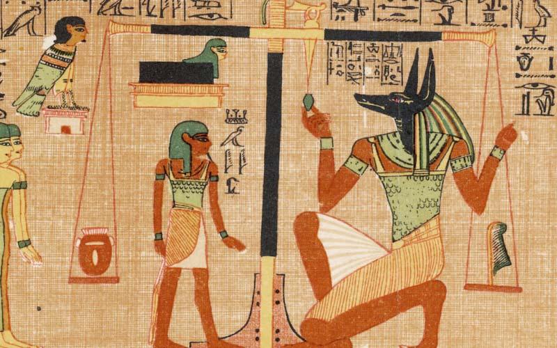 Anubi dio egizio pesatura