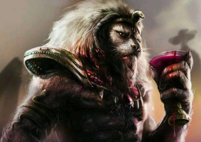 Shesmu dio leone coppa di vino