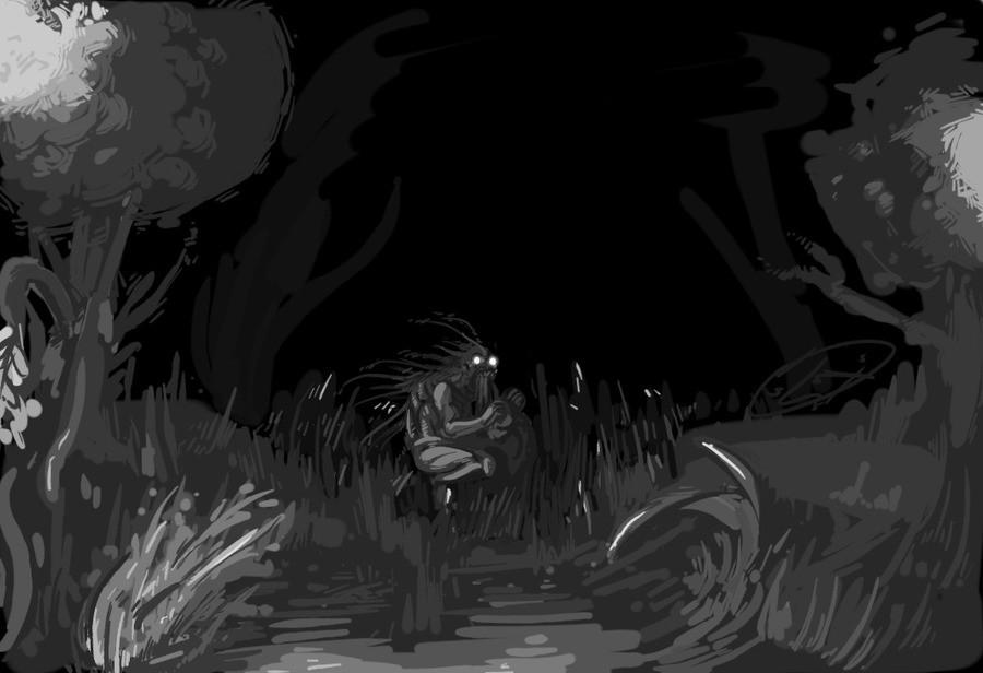 Sugghiu nel buio disegno