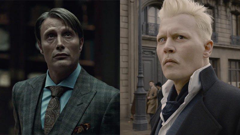 Mads Mikkelsen e Johnny Depp come Grindelwald