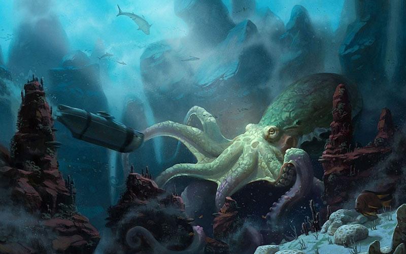 Piovra gigante polpo sottomarino artwork
