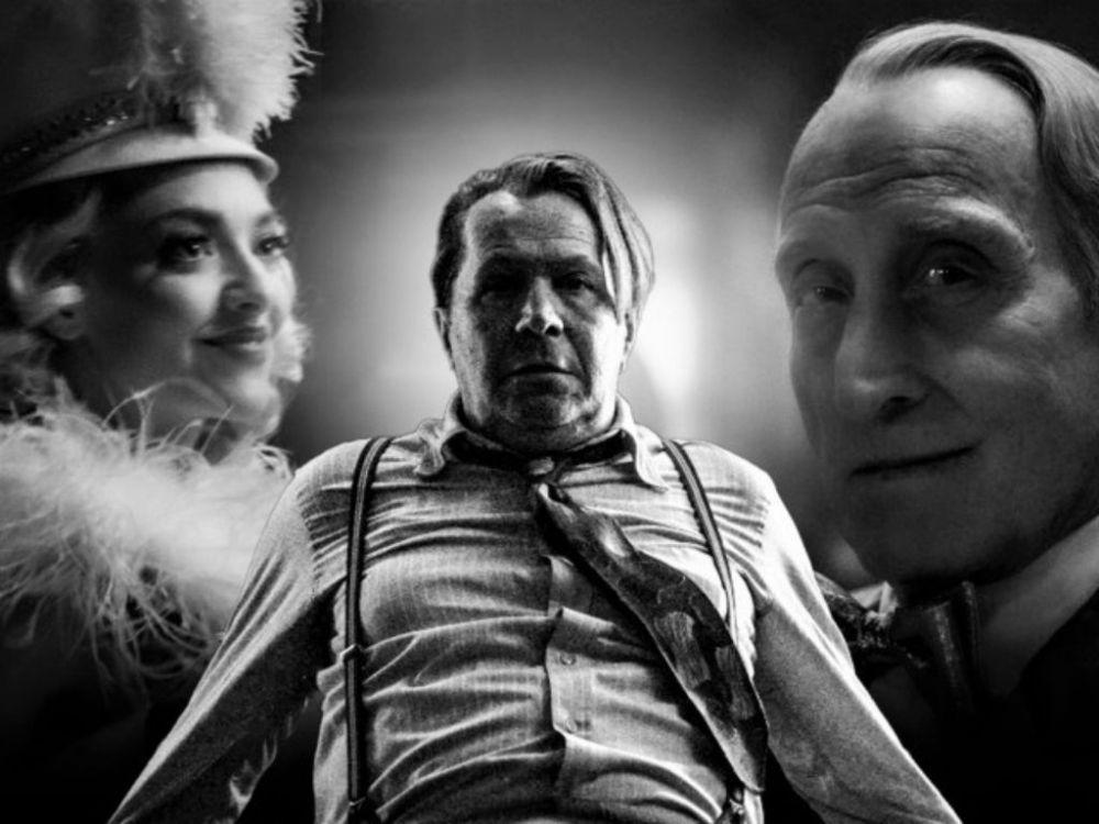 Gary Oldman, Amanda Seyfield e Charles Dance in Mank