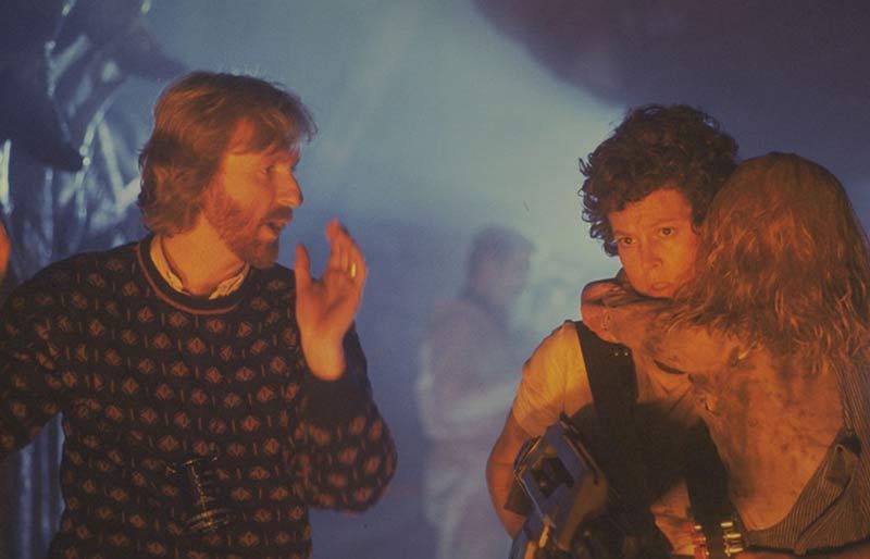James Cameron sul set di Aliens
