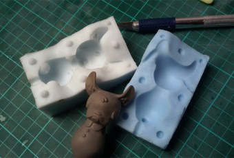 Making silicone molds for Louie