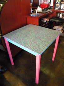 This is a table that I decorated recently. Beans customers and employees have been putting it to good use as a puzzle table.