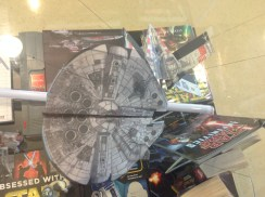 over head shot of the paper Millennium Falcon