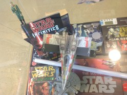 Overhead shot - paper x-wing, Governor Tarkin on top of the SW Infinities GN, below is the Millennium Falcon