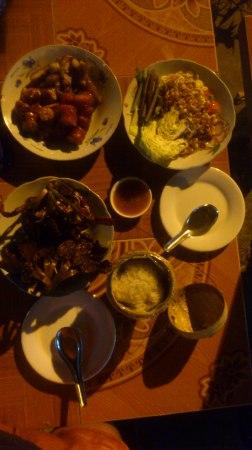 We had splendid local dinner...