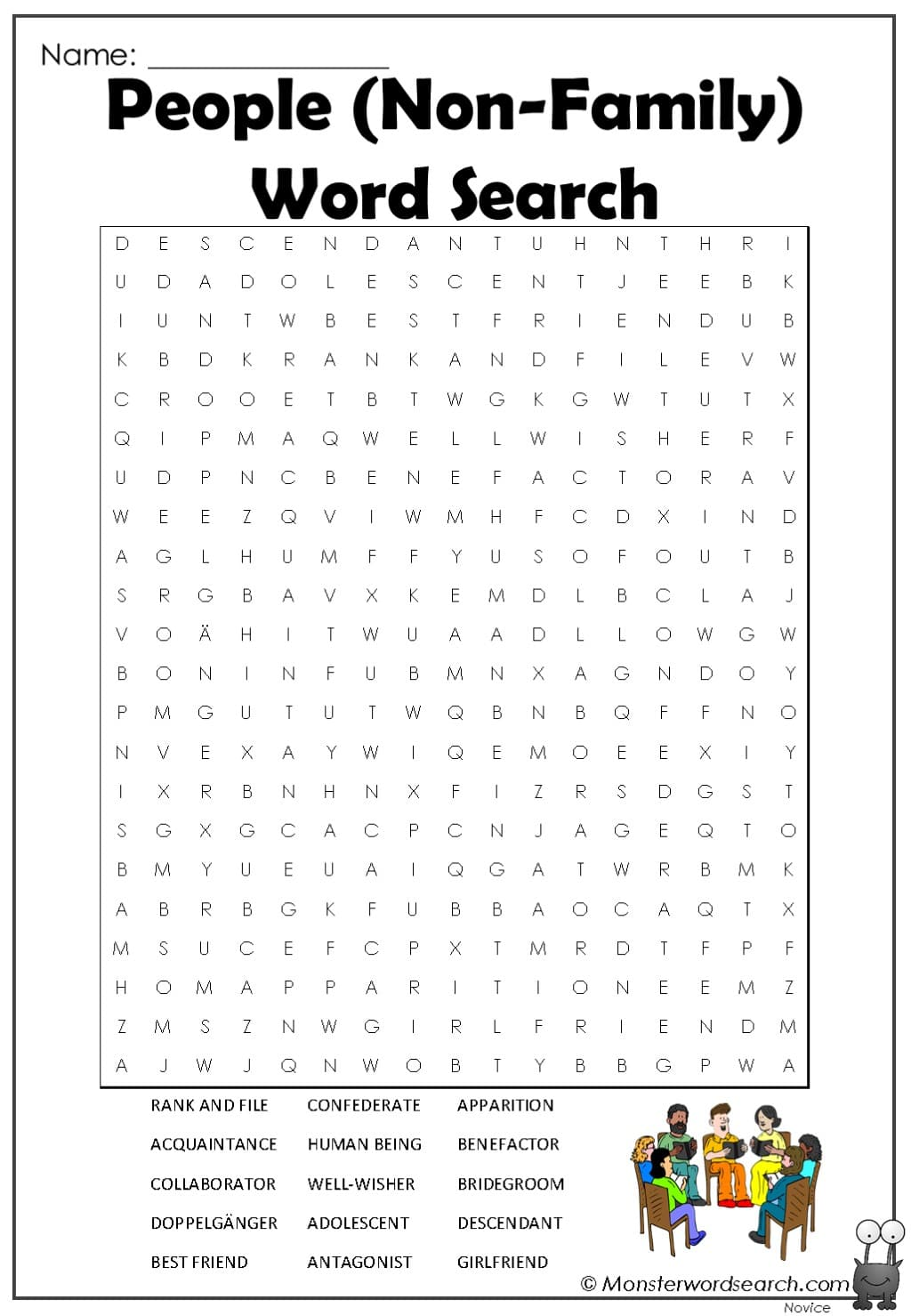 People Non Family Word Search Monster Word Search