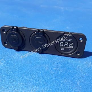 Dashboardpaneel met 12 volt lader, USB, voltmeter ineen