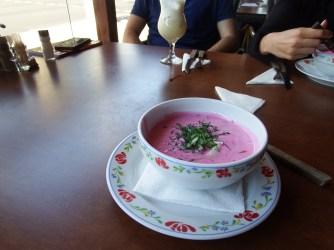 Pink 'kholodnik soup'