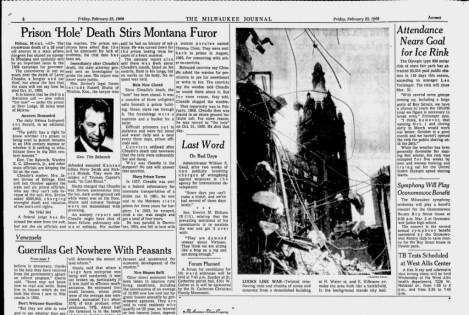 """An article on Larry Cheadle's death in """"The Hole"""" at Montana State Prison appeared in the Feb. 23, 1968 edition of the Milwaukee Journal."""