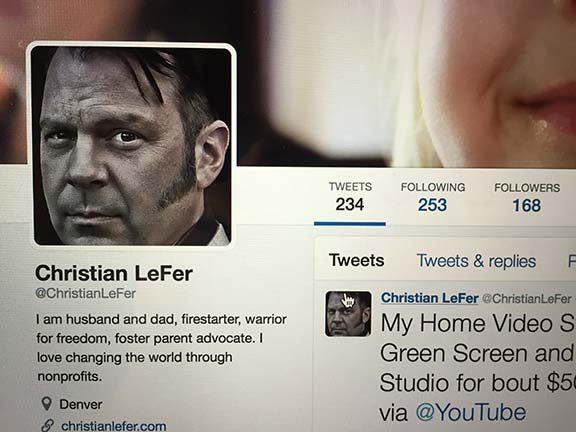 Christian LeFer as he appears on his Twitter account profile.