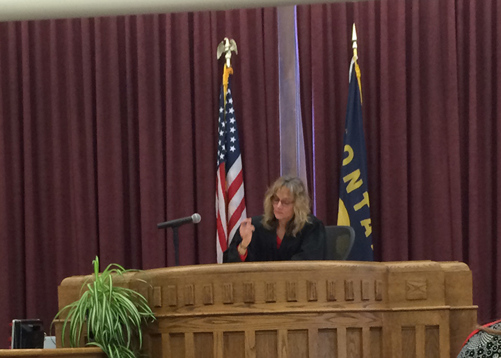 Helena District Court Judge DeeAnn Cooney presides over court this week.(Great Falls Tribune Photo/Phil Drake)
