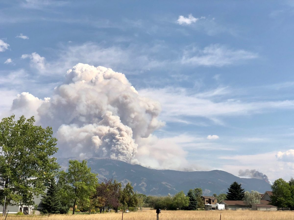 Wildfire plume over Bridger Foothills near Bozeman, MT