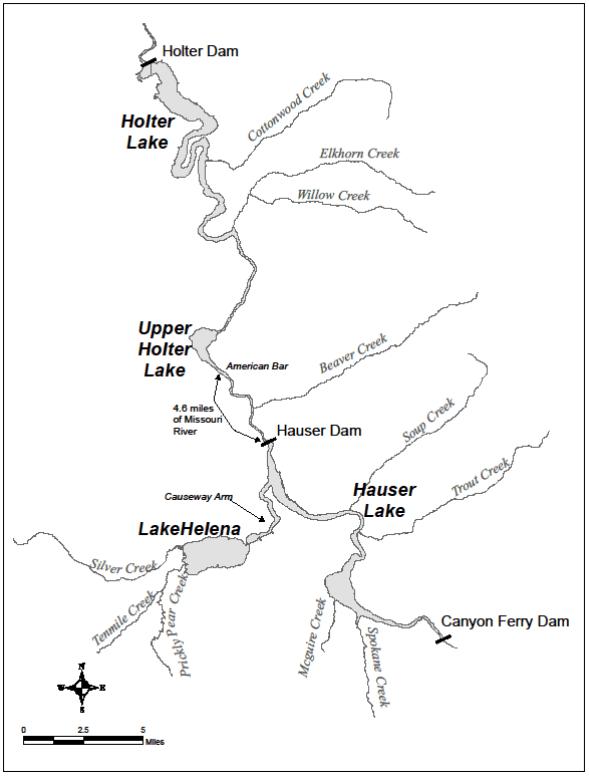 Upper Missouri River map Montana