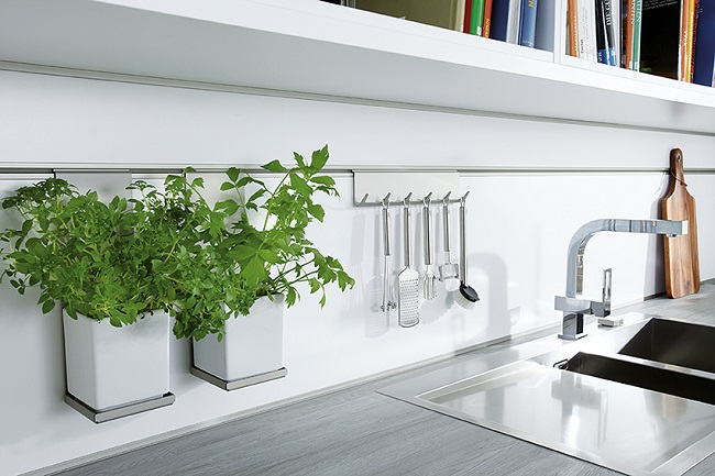 german kitchens, herb pot and utensil rack
