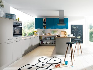 schuller kitchens, blue cabinet section