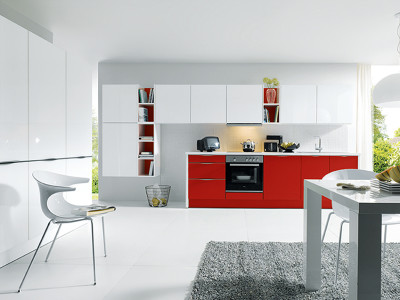 schuller kitchens, red and white kitchen