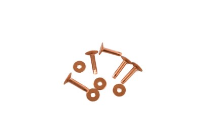 copper rivets, copper burrs, rivets and burrs, copper fasteners, saddlery hardware