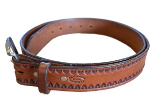 leather belt, stamped belt