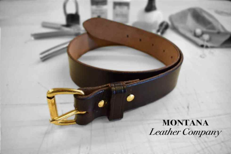 A finished DIY leather belt.